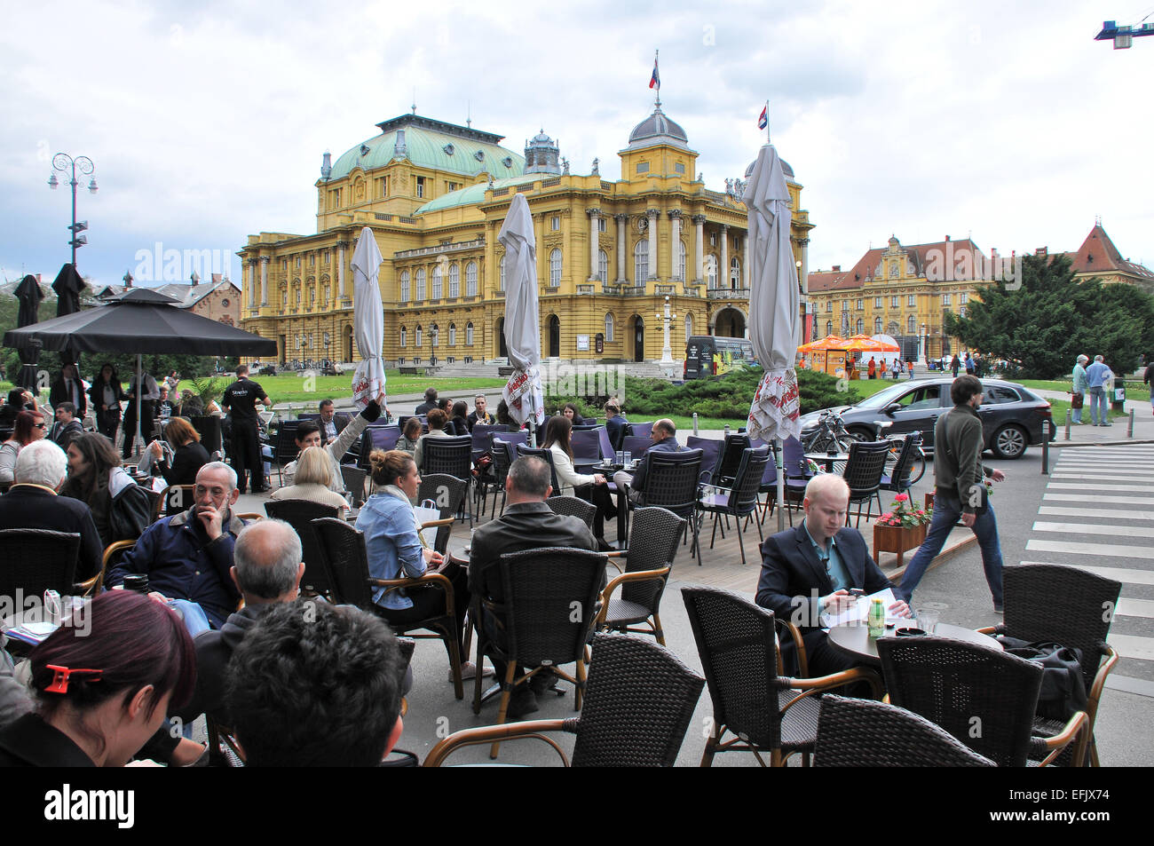 Cafe at the Croatian National Theater, Zagreb, Croatia - Stock Image