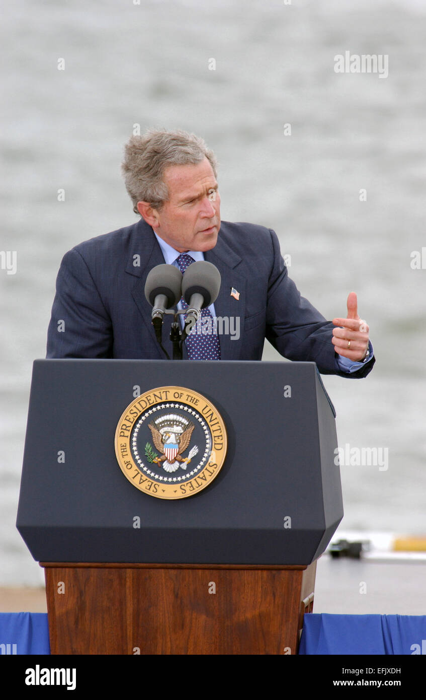 US President George W. Bush addresses homeland security and the war against terrorism during a visit to the Union - Stock Image