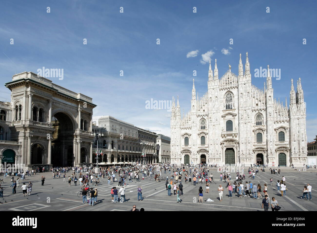 Piazza del Duomo with Milan Cathedral and Galleria Vittorio Emanuele II, Milan, Lombardy, Italy - Stock Image