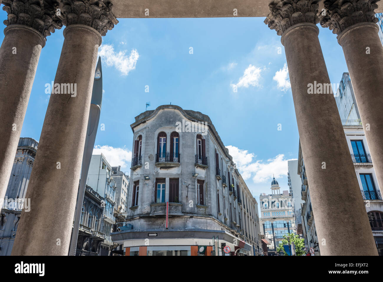 View of the old city from the colonnade of the theater Solis, Montevideo, Uruguay - Stock Image