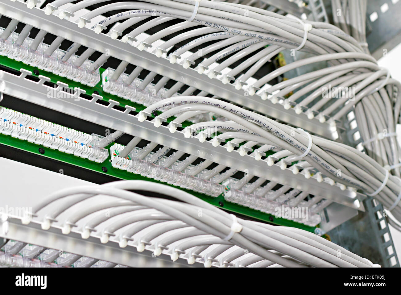 Wiring Closet Stock Photos Images Alamy Internet Kind Of Patch Panels With 6 Th Category In The Background