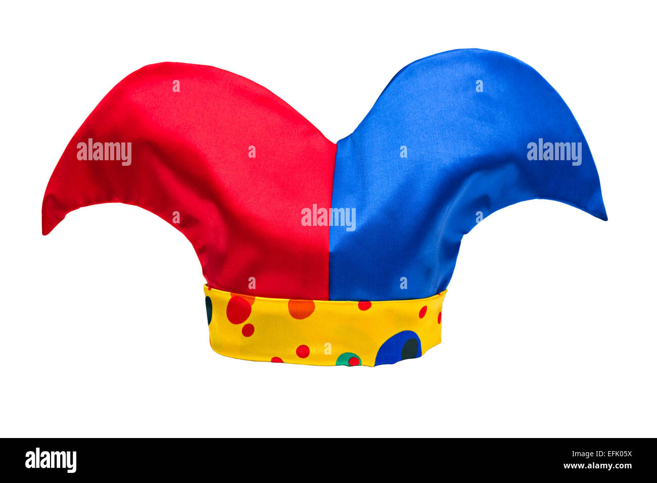e3181664e0f multi-colored jester hat isolated on white background - Stock Image