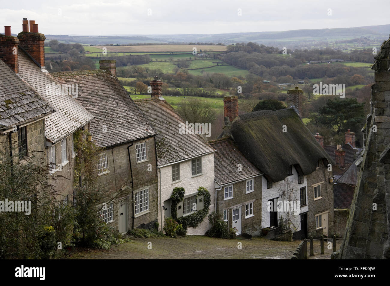 Cobbled street on Gold Hill in Shaftesbury, Dorset, England Stock Photo
