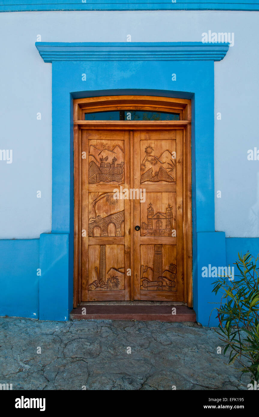 Mexican door in Todos Santos in Baja California Sur Mexico - Stock Image