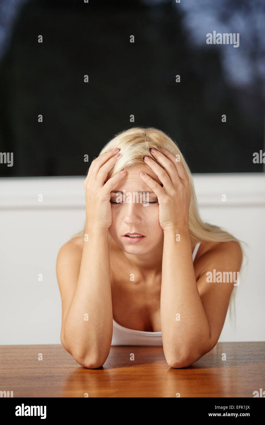 Young girl stressed - Stock Image
