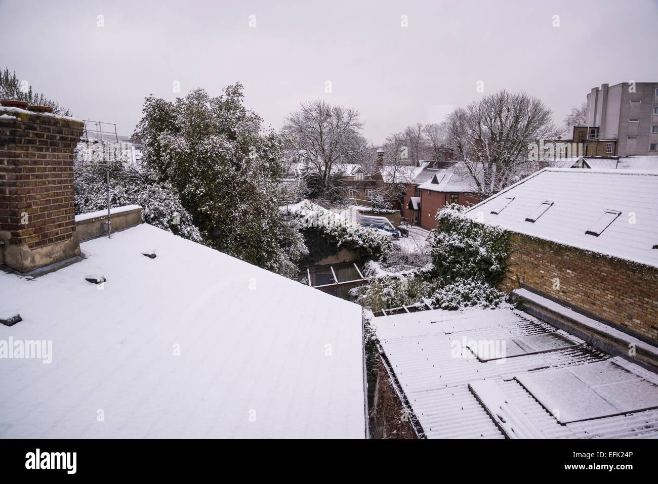 Roofs covered with snow, Hampton Wick, Surrey, England, UK - Stock Image