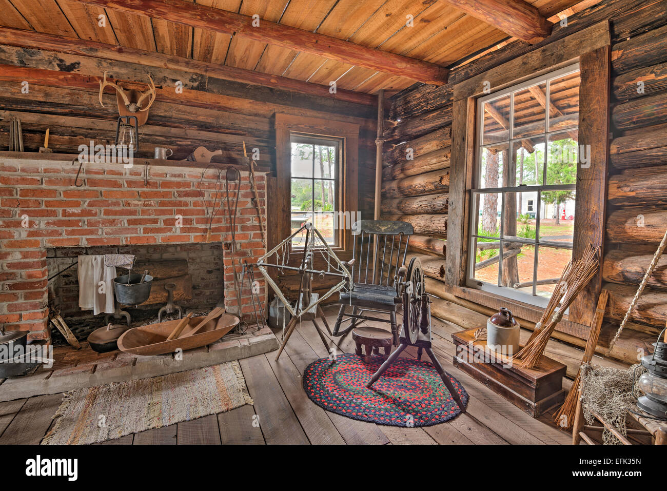 Interior of the historic McMullen-Coachman Log House in the Pinellas County Heritage Village - Stock Image