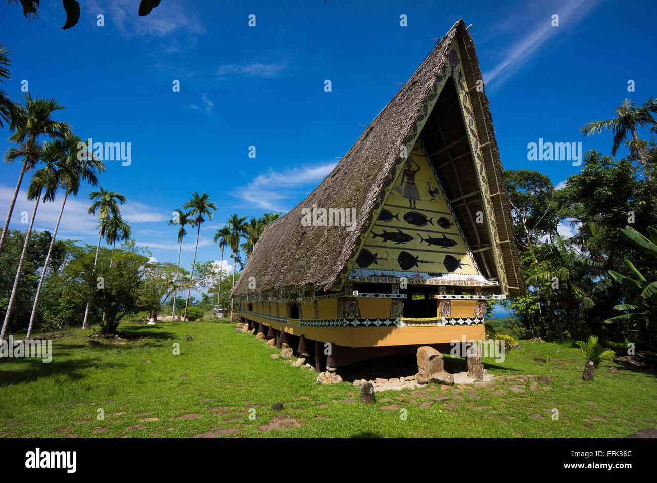 traditional Bai of Palau, the men's house, Babeldaob, Palau, Oceania - Stock Image
