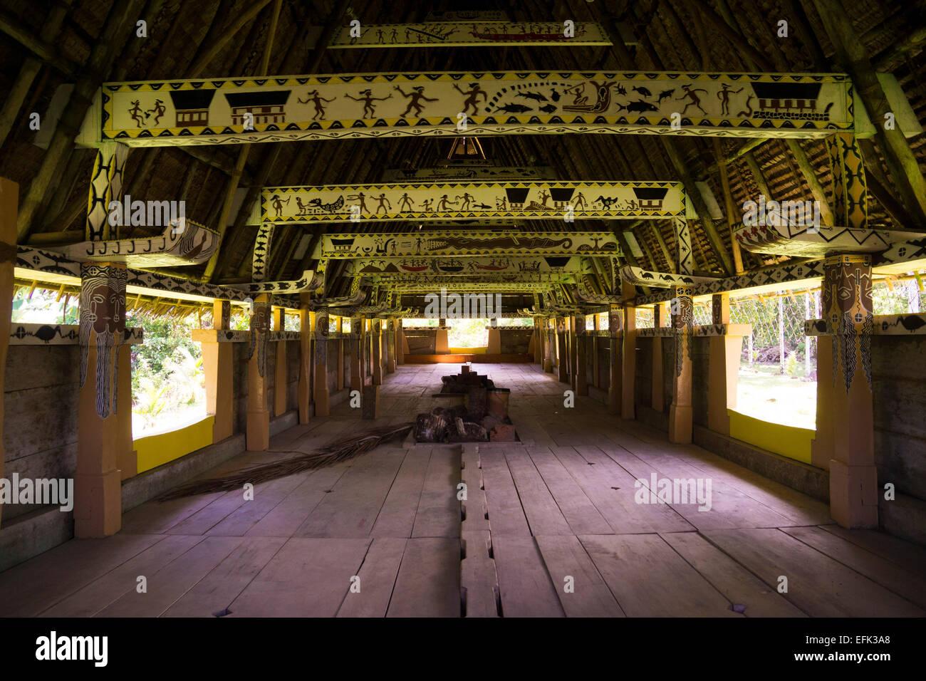 Interior of a traditional Bai of Palau, the men's house, Babeldaob, Palau, Oceania - Stock Image