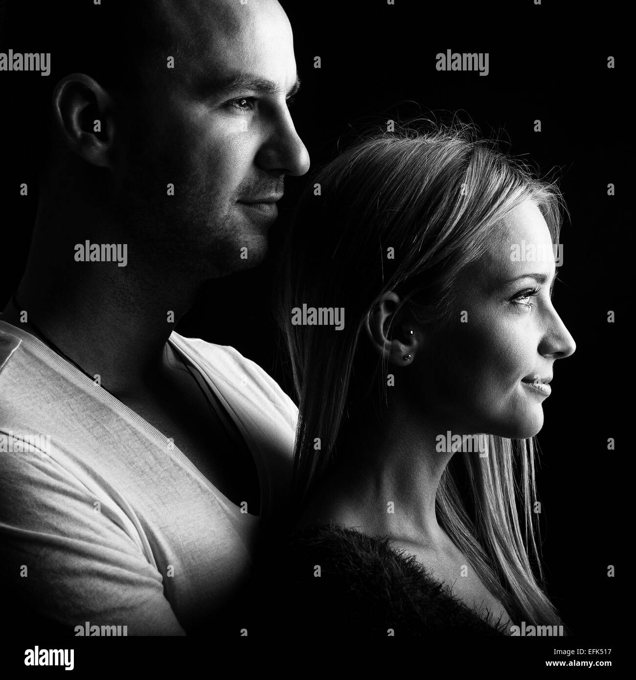 Loving couple black and white profile picture stock image