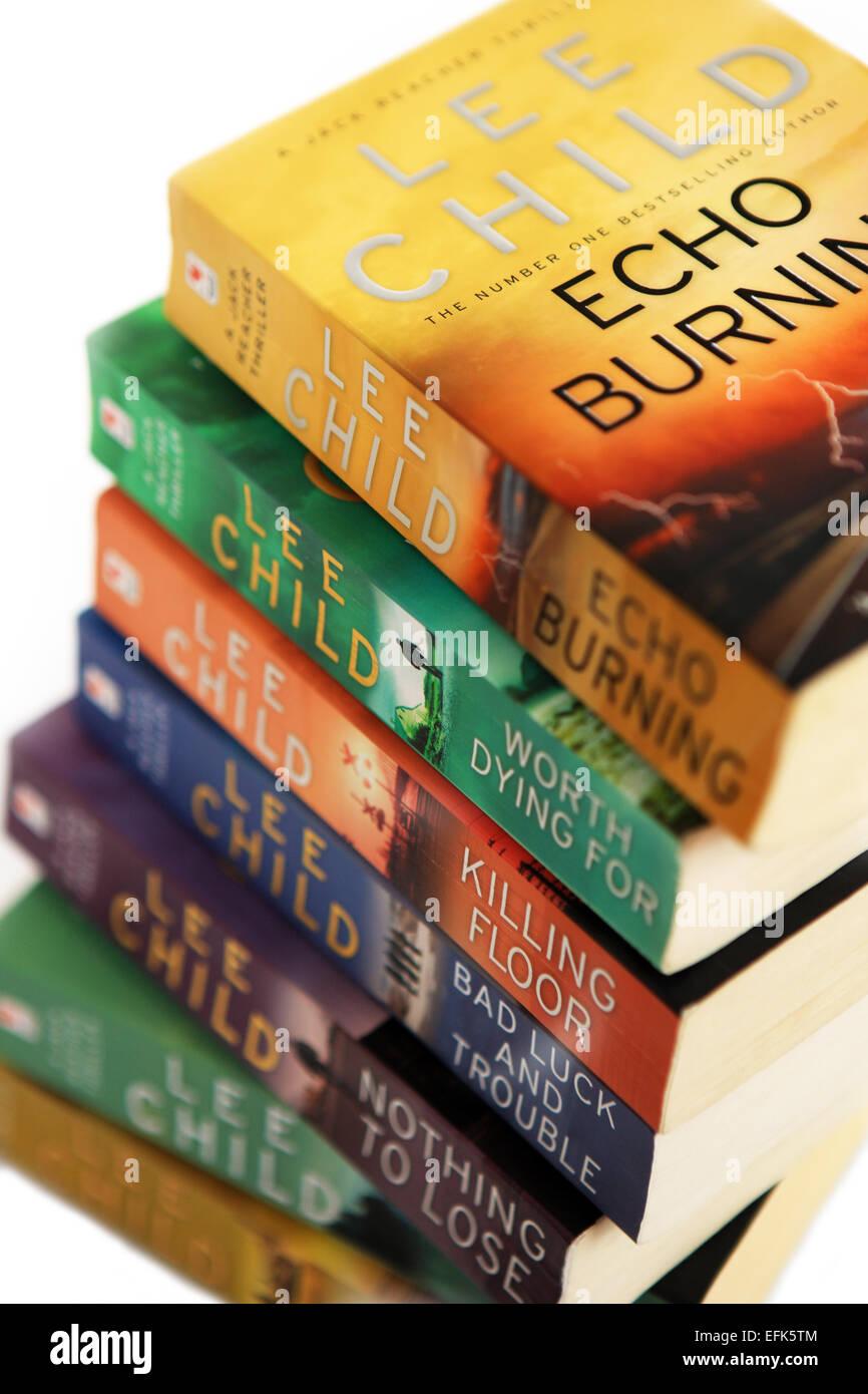 Pile of Lee Child novels - Stock Image