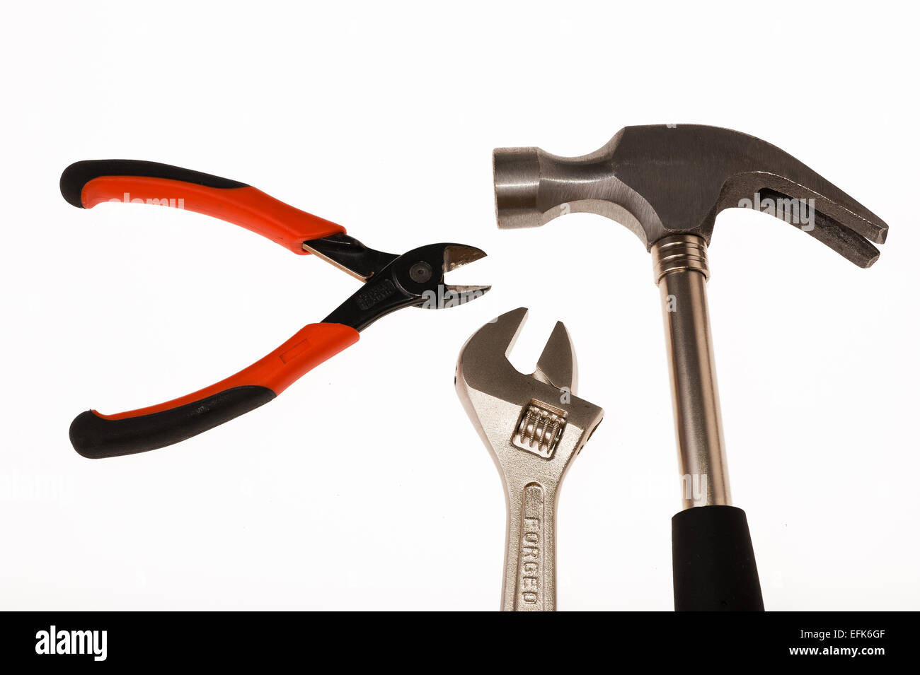 Bricolage tools on white background - Stock Image
