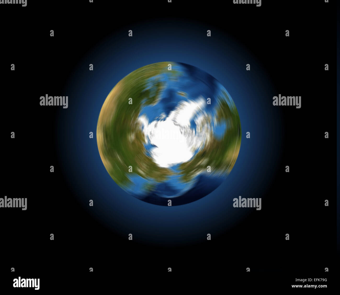 A conceptual image of the Earth spinning on its axis, looking down onto the Arctic and northern hemisphere - Stock Image