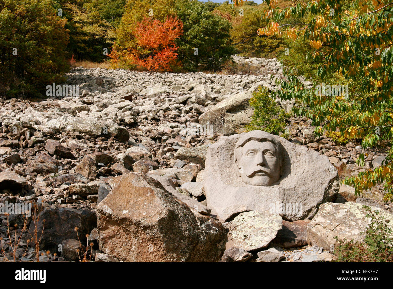 Carved stone image in the park of the resort town of Jermuk, Armenia