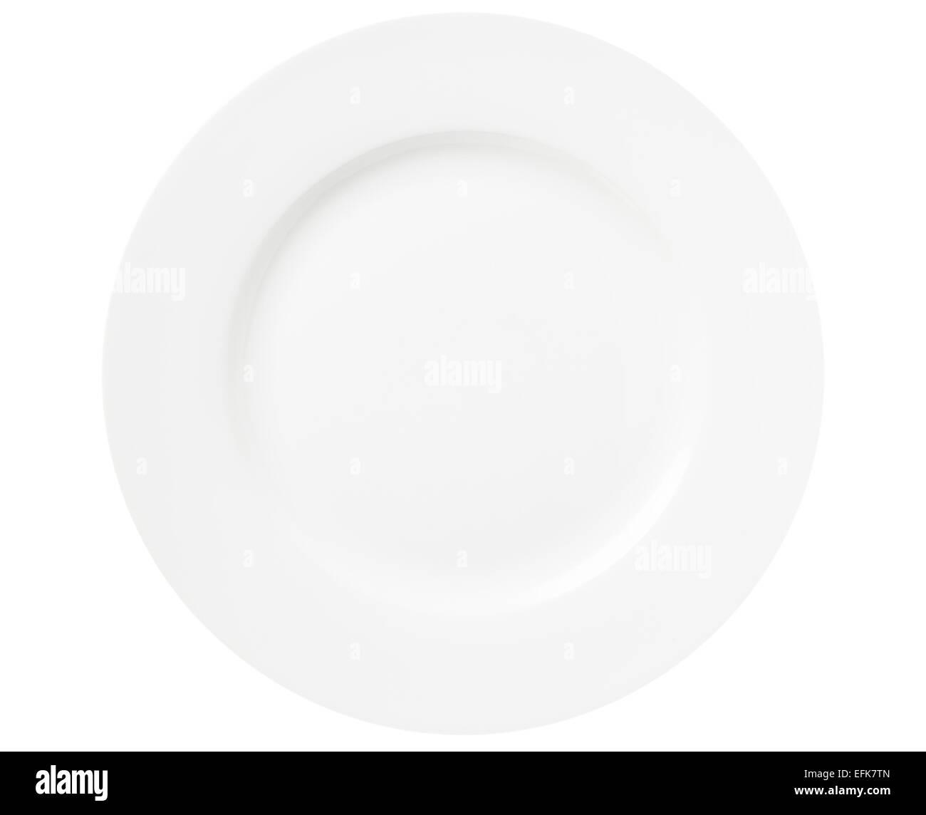 Round white dinner plate - Stock Image