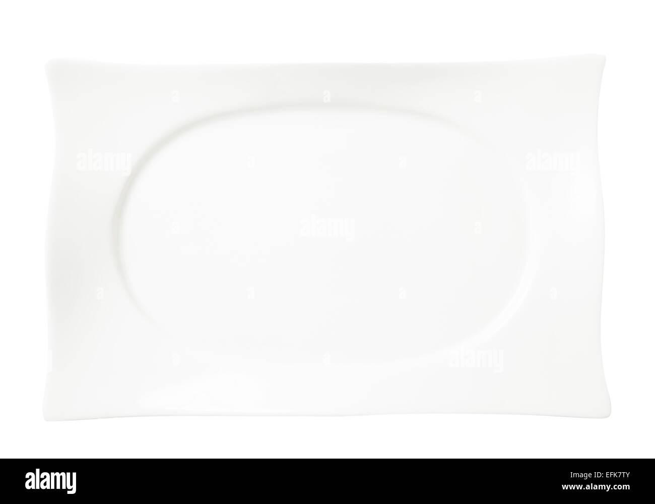 rectangular white dinner plate - Stock Image