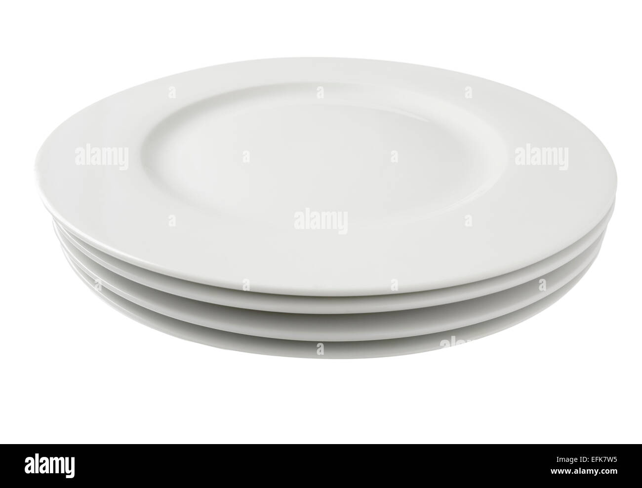 Stack of round white dinner plates - Stock Image