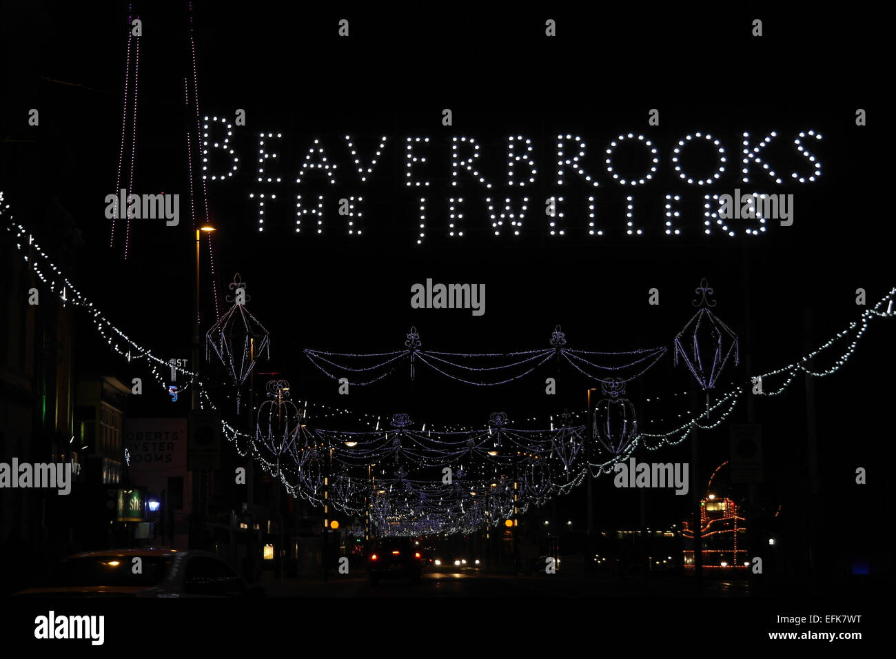 Night view, south from Talbot Square, 'Beaverbrook the Jewellers' LED 'Bling Jewels', Central Promenade, Blackpool Stock Photo