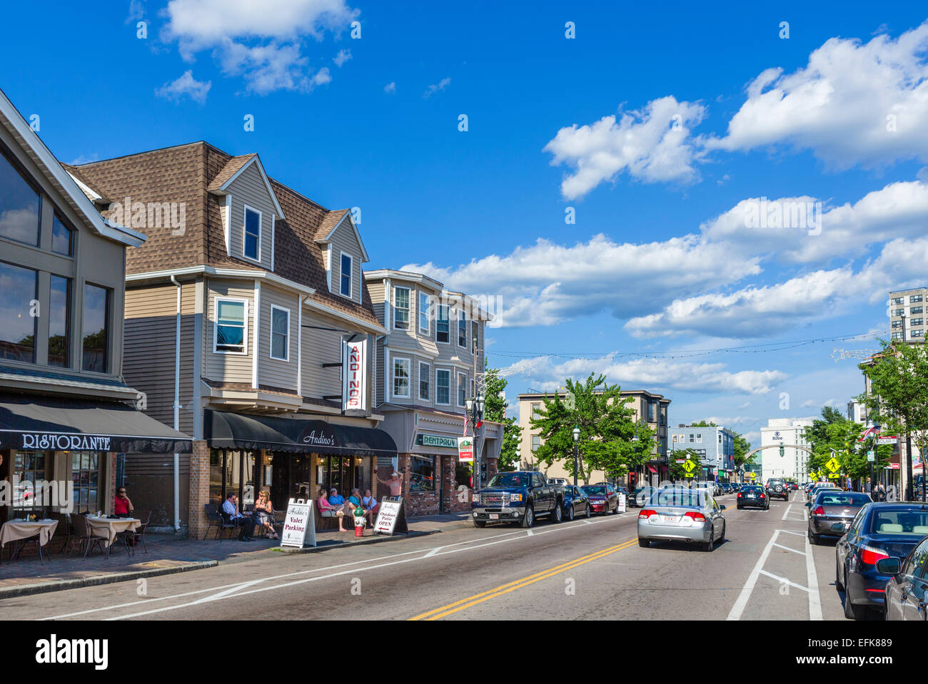 Atwells Avenue in the Federal Hill District, Providence, Rhode Island, USA - Stock Image