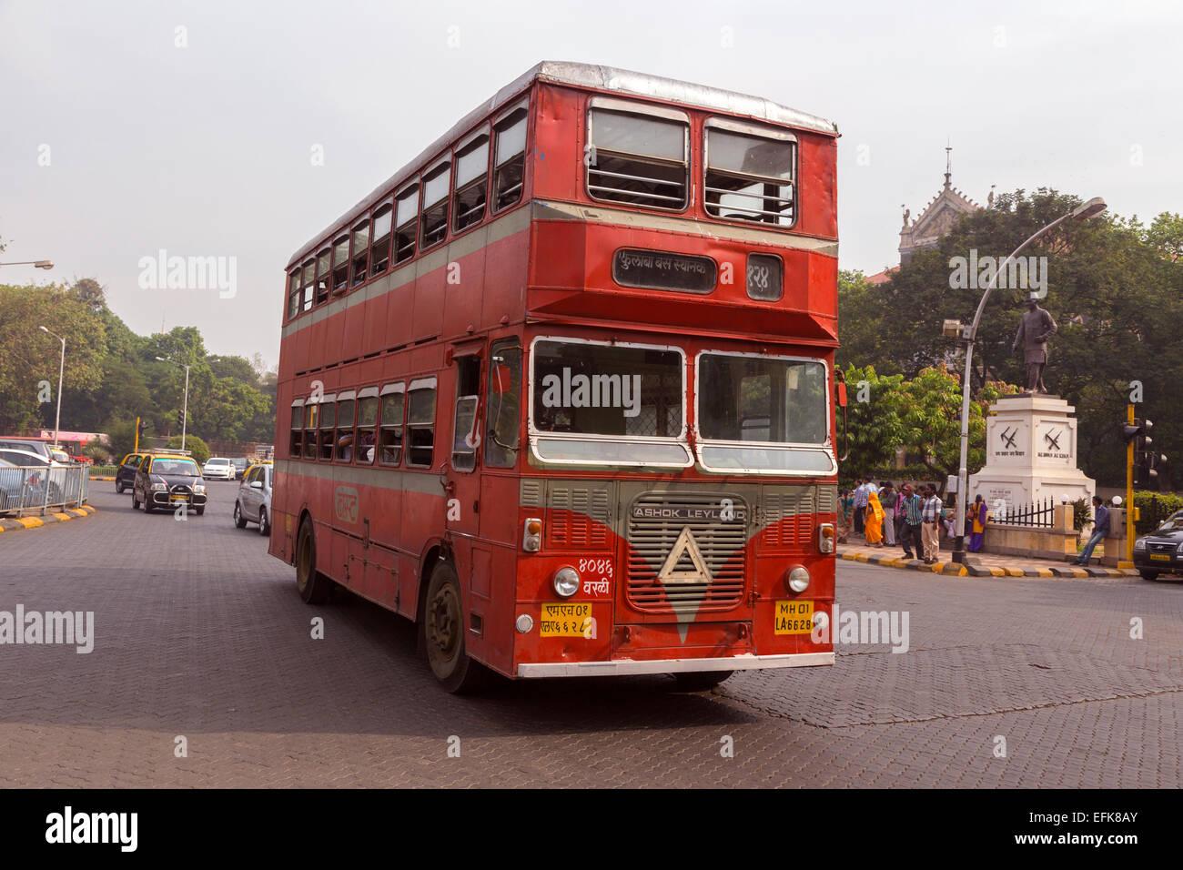 India, Maharashtra, Mumbai, Colaba, red double decker bus - Stock Image