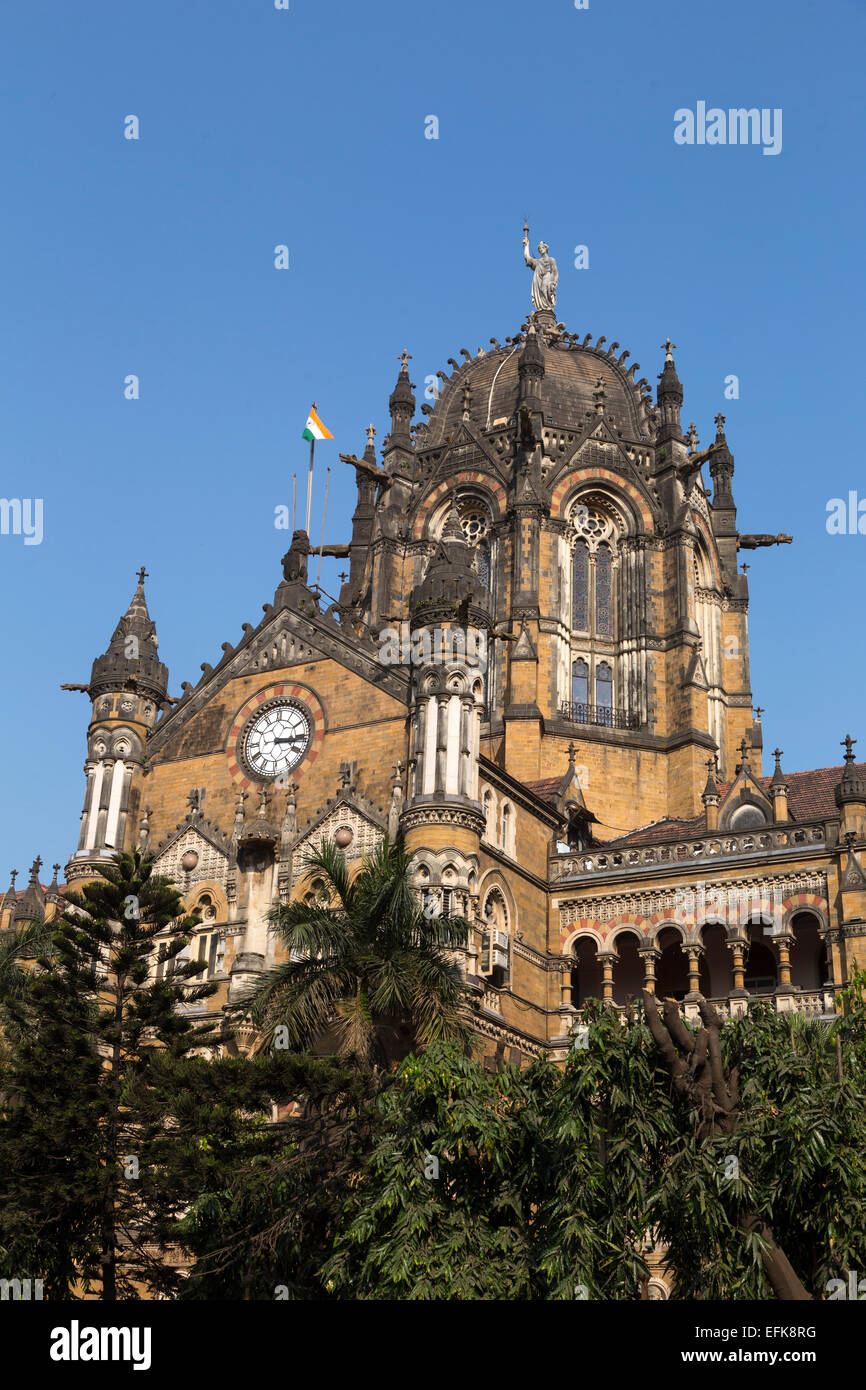 India, Maharashtra, Mumbai, Chhatrapati Shivaji Terminus (Victoria Terminus) - Stock Image