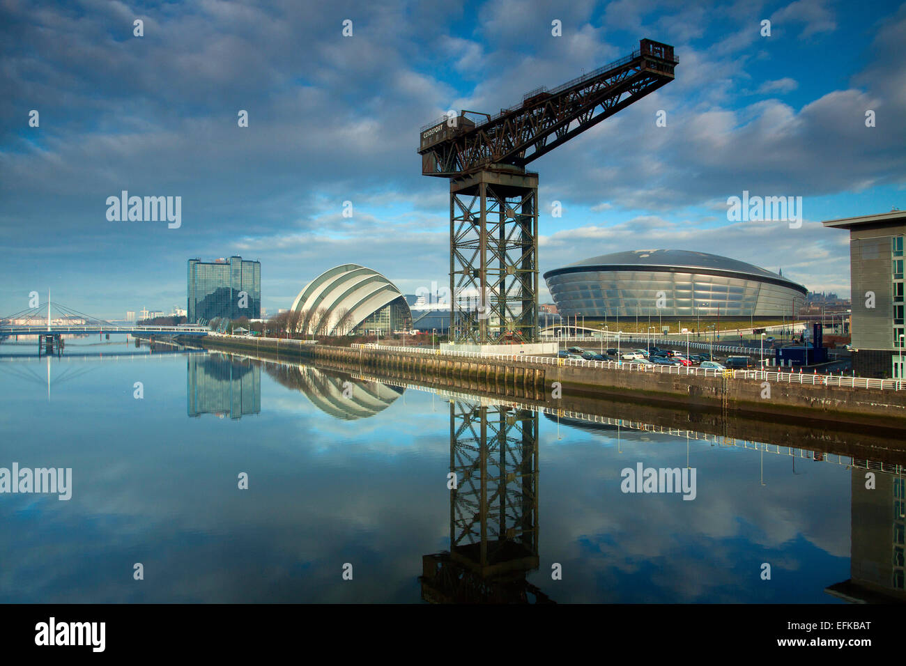 The Stobcross (Finnieston Crane), the Armadillo, the SSE Hydro and the River Clyde, Pacific Quay, Glasgow - Stock Image
