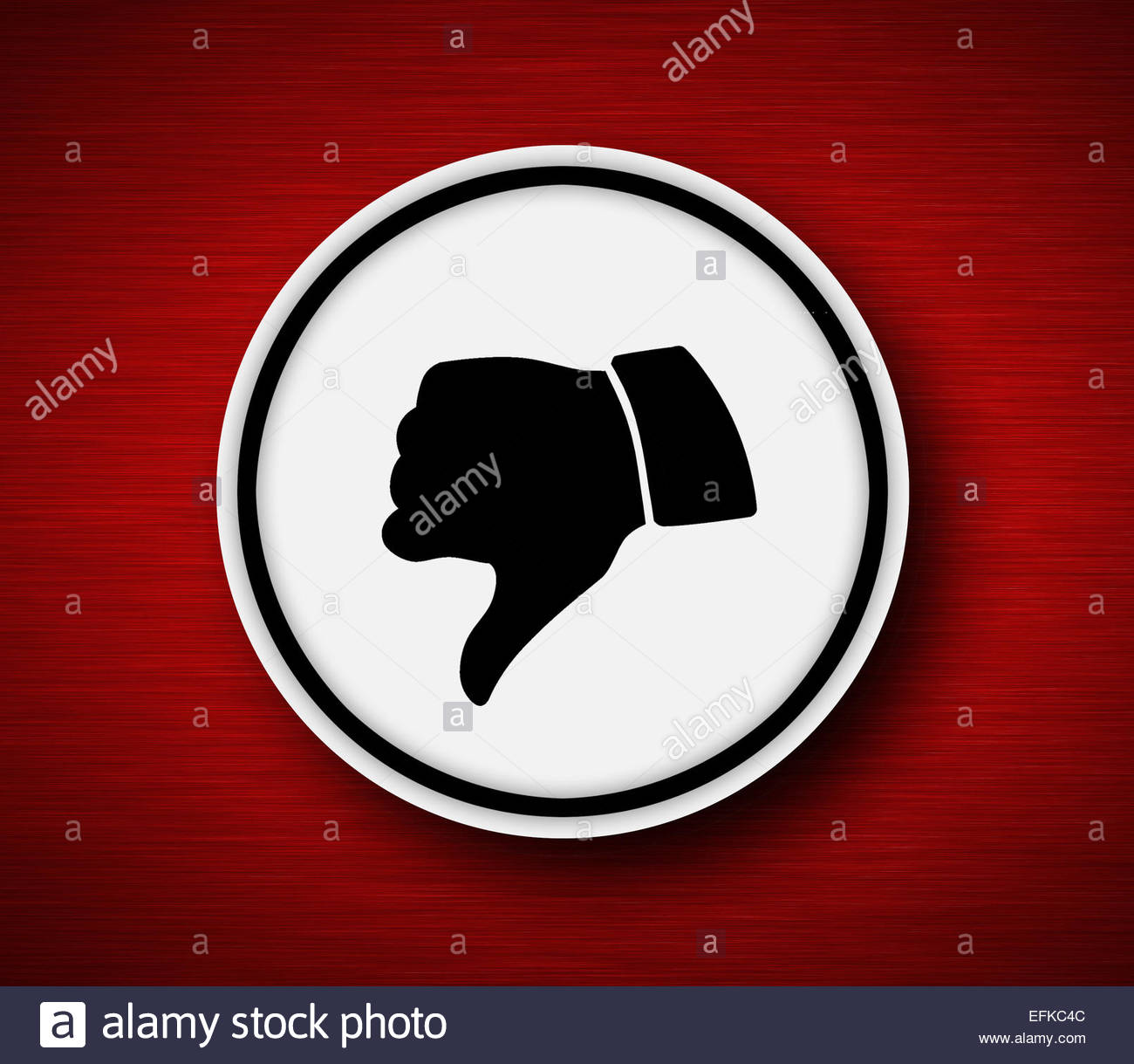 Thumb down icon with metallic background - Stock Image