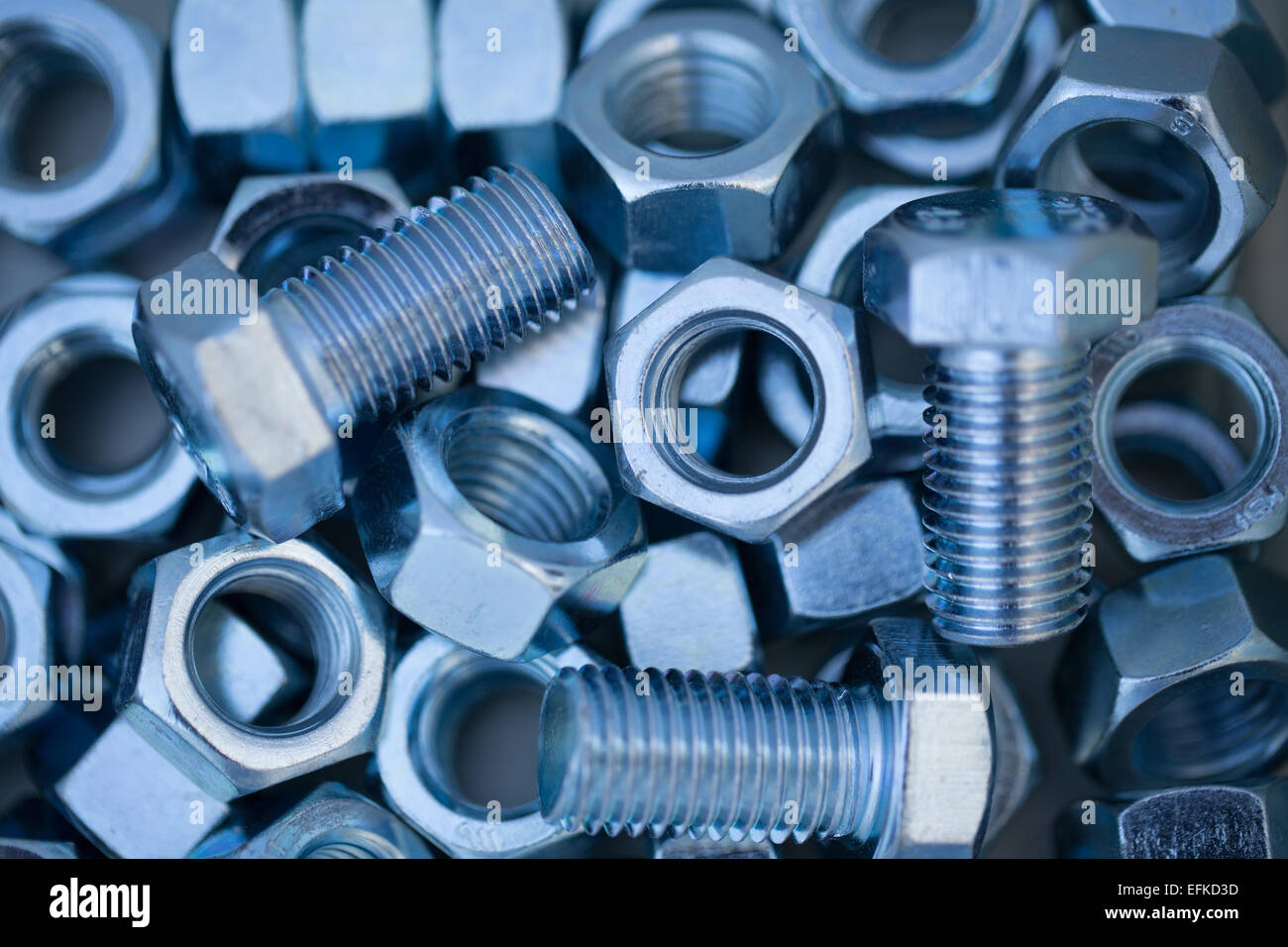 Several Hexagon nuts and Hexagon bolts - Stock Image