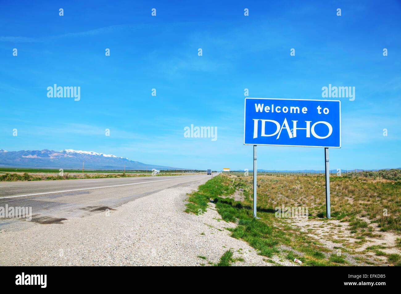 Welcome to Idaho sign at the state border Stock Photo