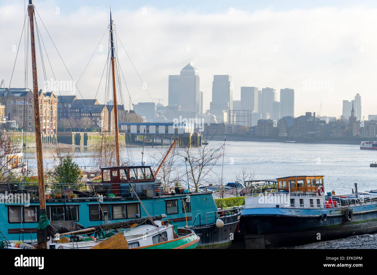Downings Roads Moorings (Garden Barge Square / Floating Barge Gardens), river Thames, London, UK - Stock Image