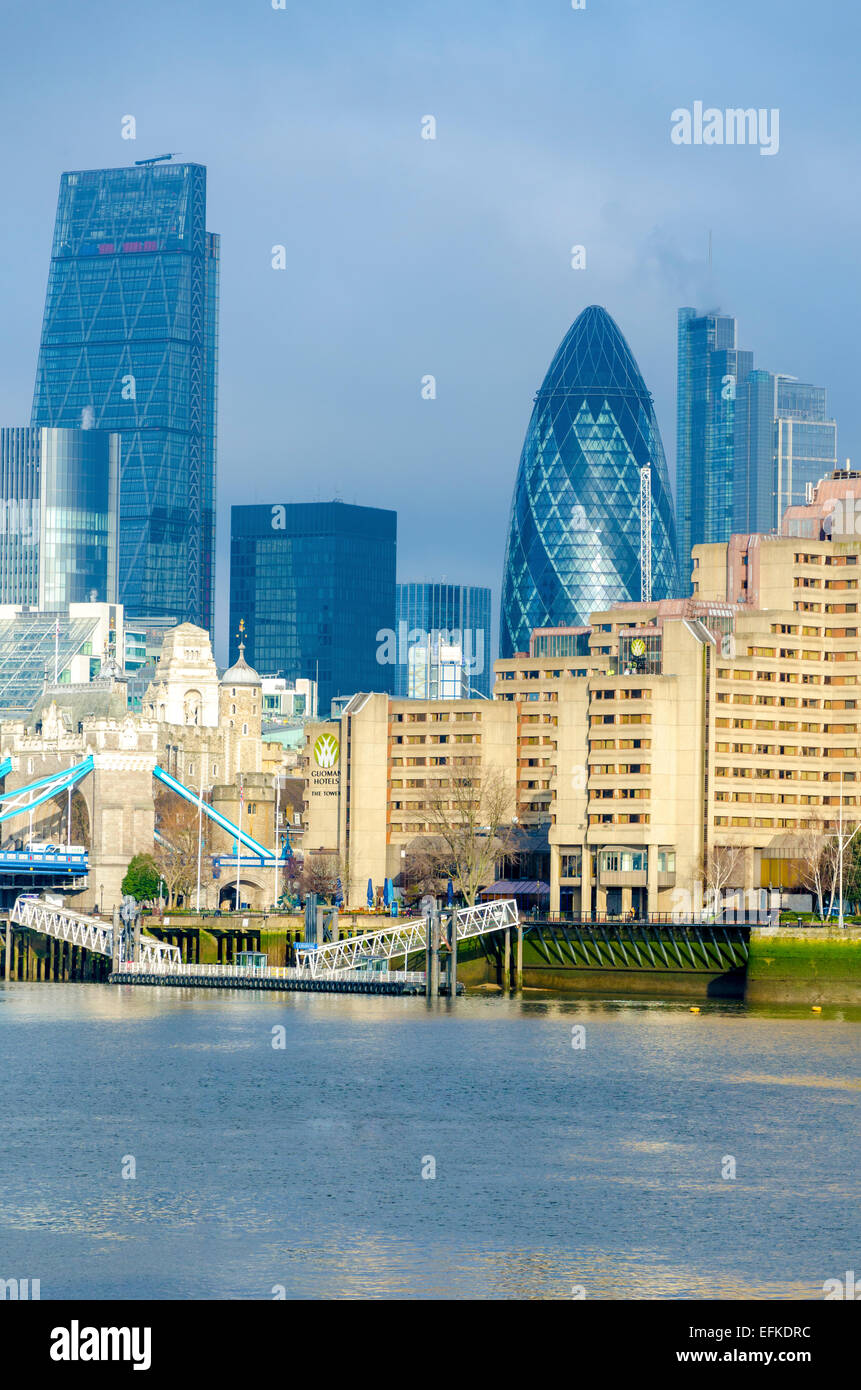 The City of London viewed over the Thames, London, UK - Stock Image