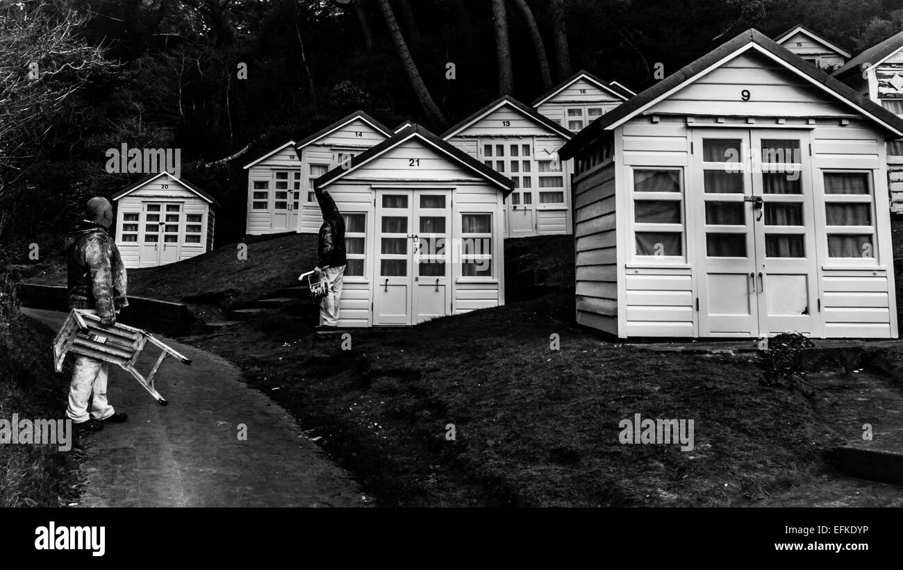 Chalet-style beach huts in Alum Chine, Poole, Bournemouth, Dorset, UK - Stock Image