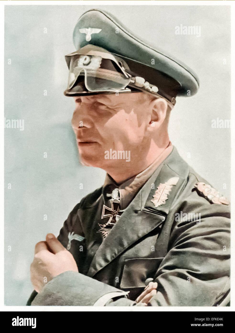 Erwin Johannes Eugen Rommel (Field Marshall Rommel 1891-1944), vintage postcard. - Stock Image