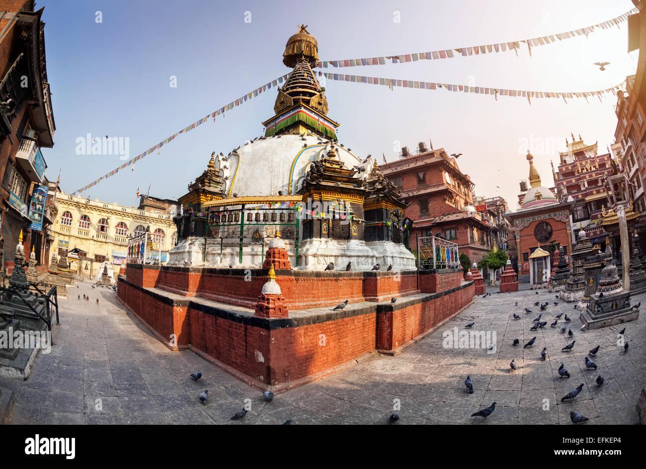 Kathesimbhu Buddhist stupa in courtyard in Thamel, Kathmandu, Nepal - Stock Image