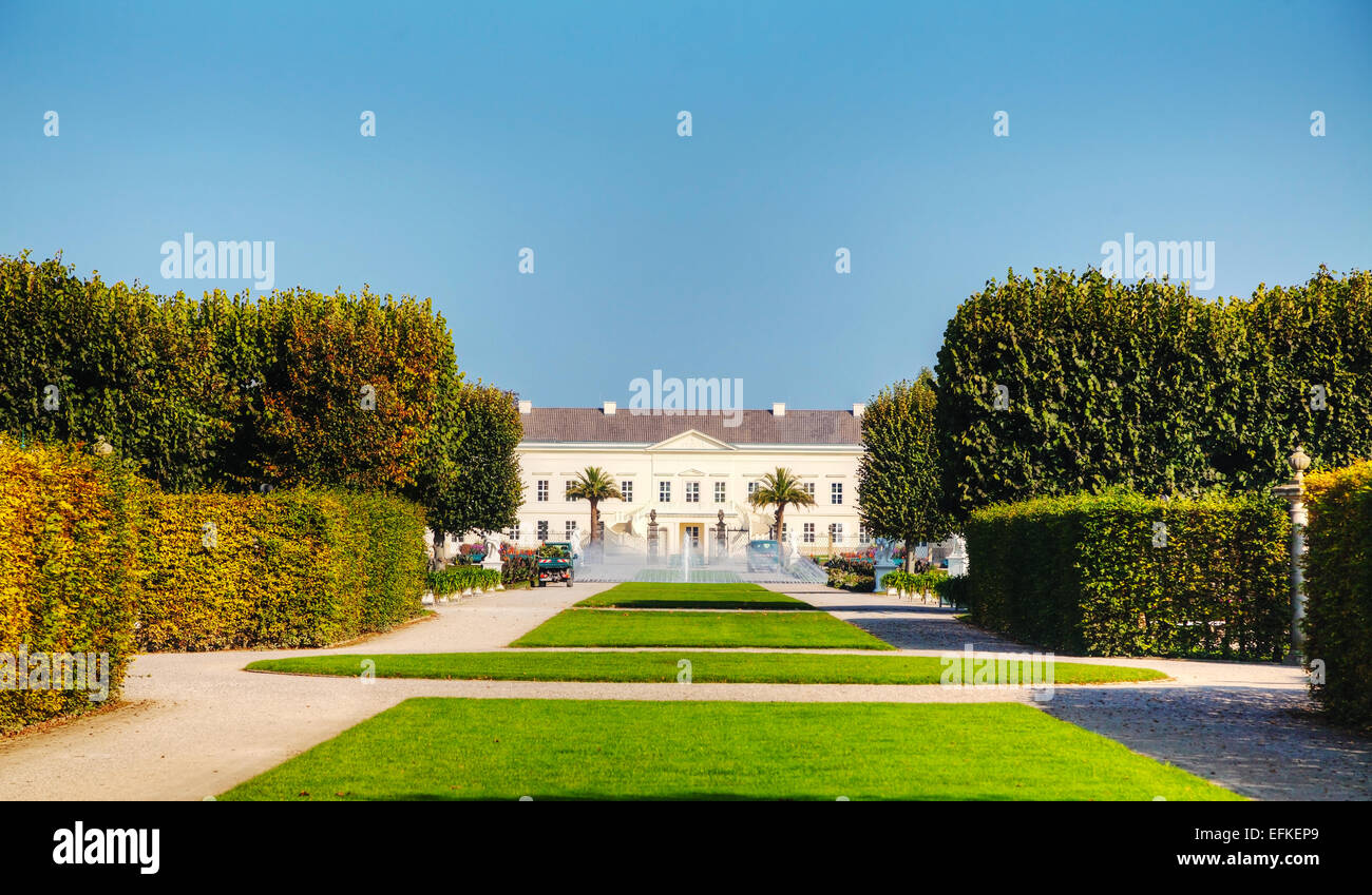 HANOVER - OCTOBER 6: The Herrenhausen Gardens on October 6, 2014 in Hanover, Germany. - Stock Image