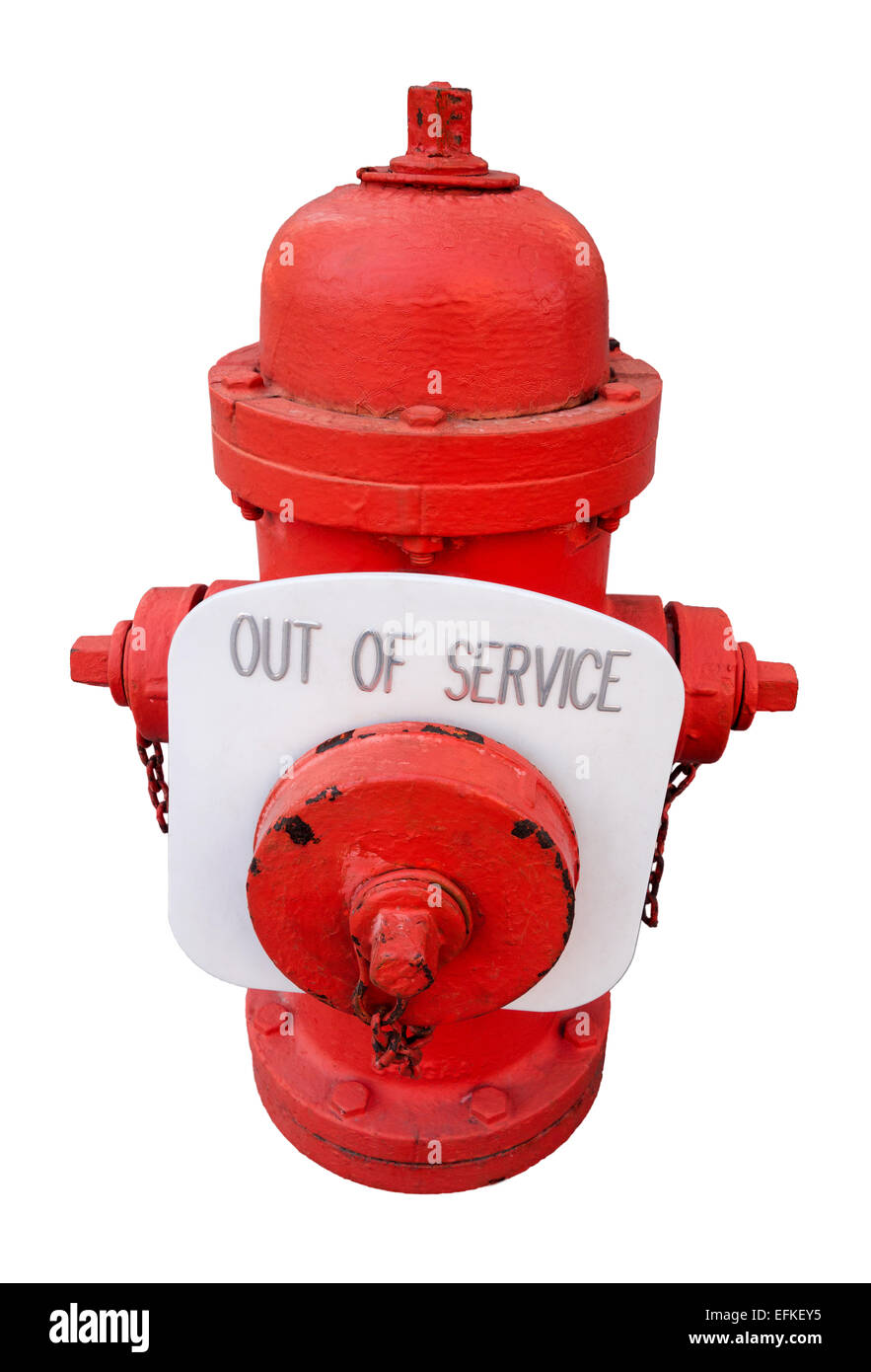 Red US Fire Hydrant with out of service sign; not working, broken, unsafe, unreliable fire plug. Safety problem, - Stock Image