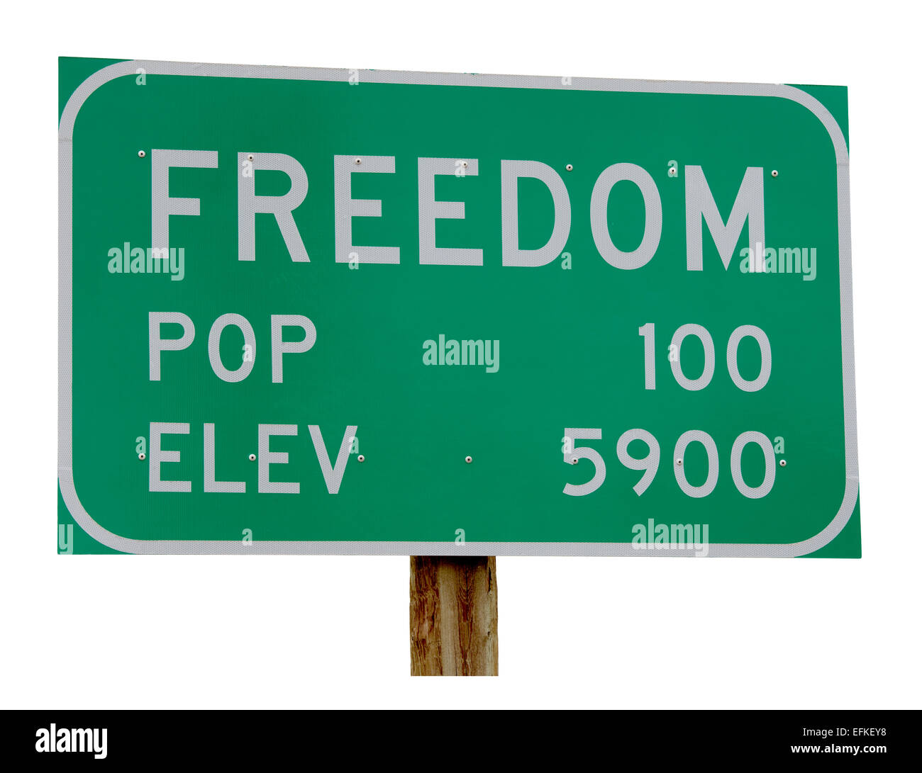 Town Sign Freedom Wyoming Idaho border town. Population 100. Elevation 5900. cut out cutout isolated on white background - Stock Image