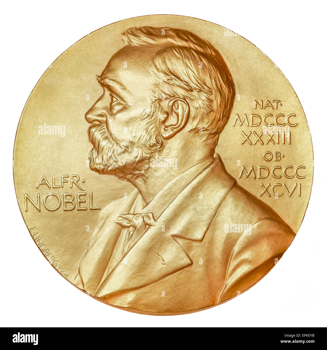 Nobel Prize medal cut out cutout isolated on a white background Stock Photo