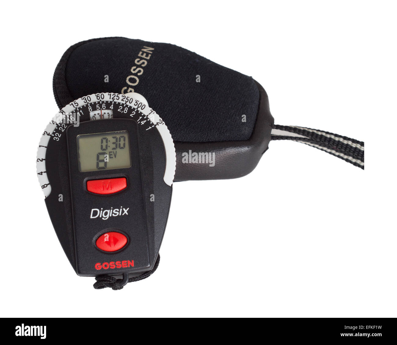 Gossen Digisix photographic light or exposure meter with pouch isolated on a white background. - Stock Image