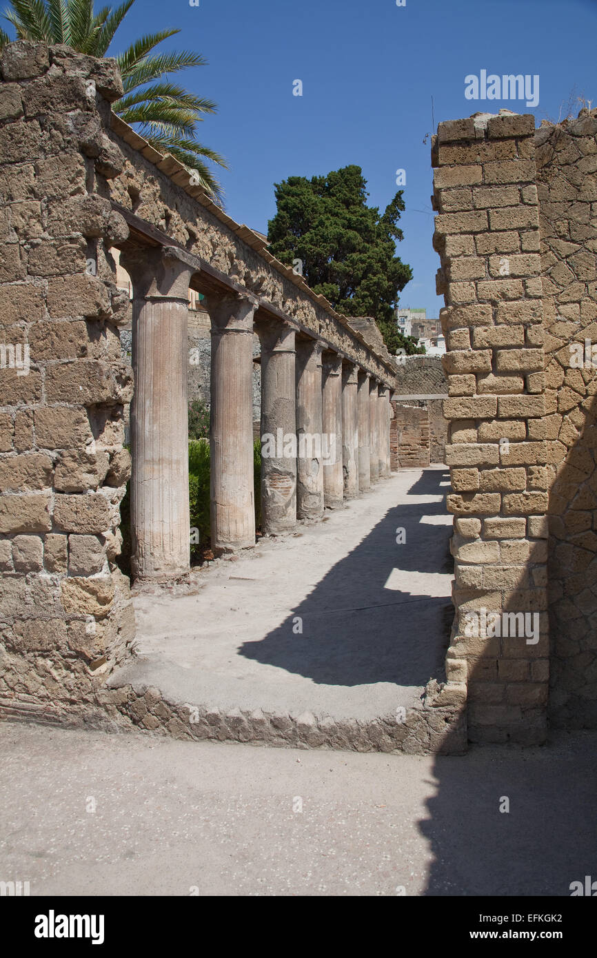 A walled garden part of a Roman villa, that obviously belonged to a wealthy family of note  in their day. - Stock Image