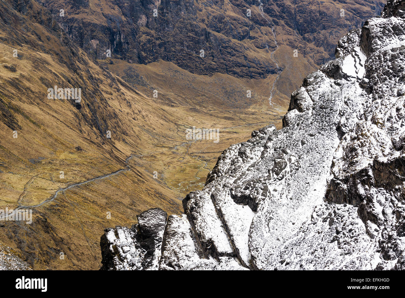 Looking down from the snowy Andes mountains to a trail passing through a valley near La Paz, Bolivia - Stock Image