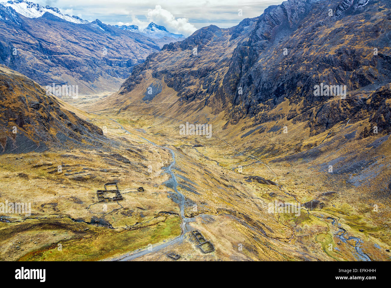 Looking down on Incan Ruins in a valley as seen from high up in the Andes mountains of the Cordillera Real near - Stock Image