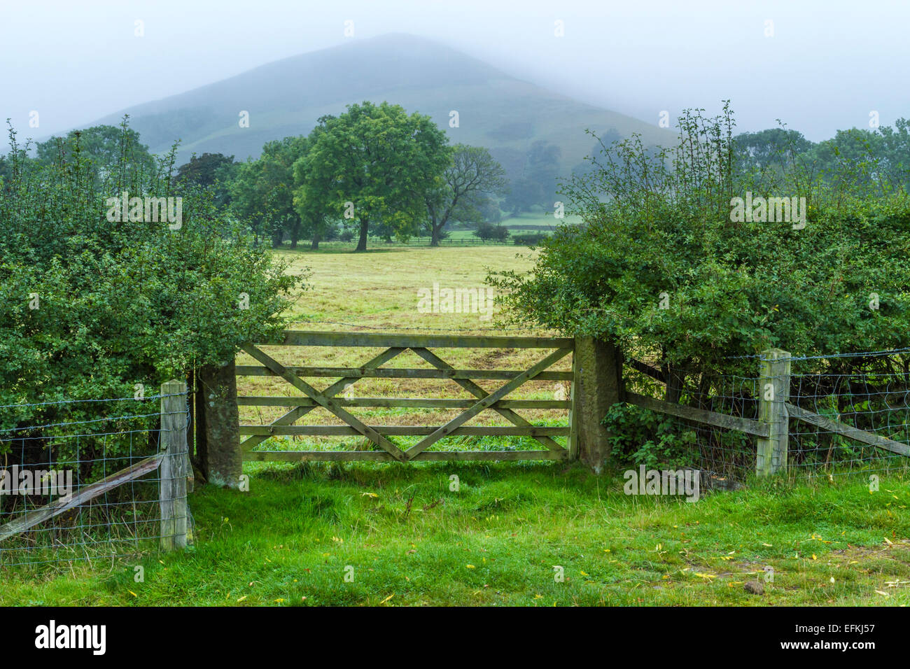 Dull weather with low cloud covering hills in the countryside. Vale of Edale, Derbyshire, Peak District, England, - Stock Image