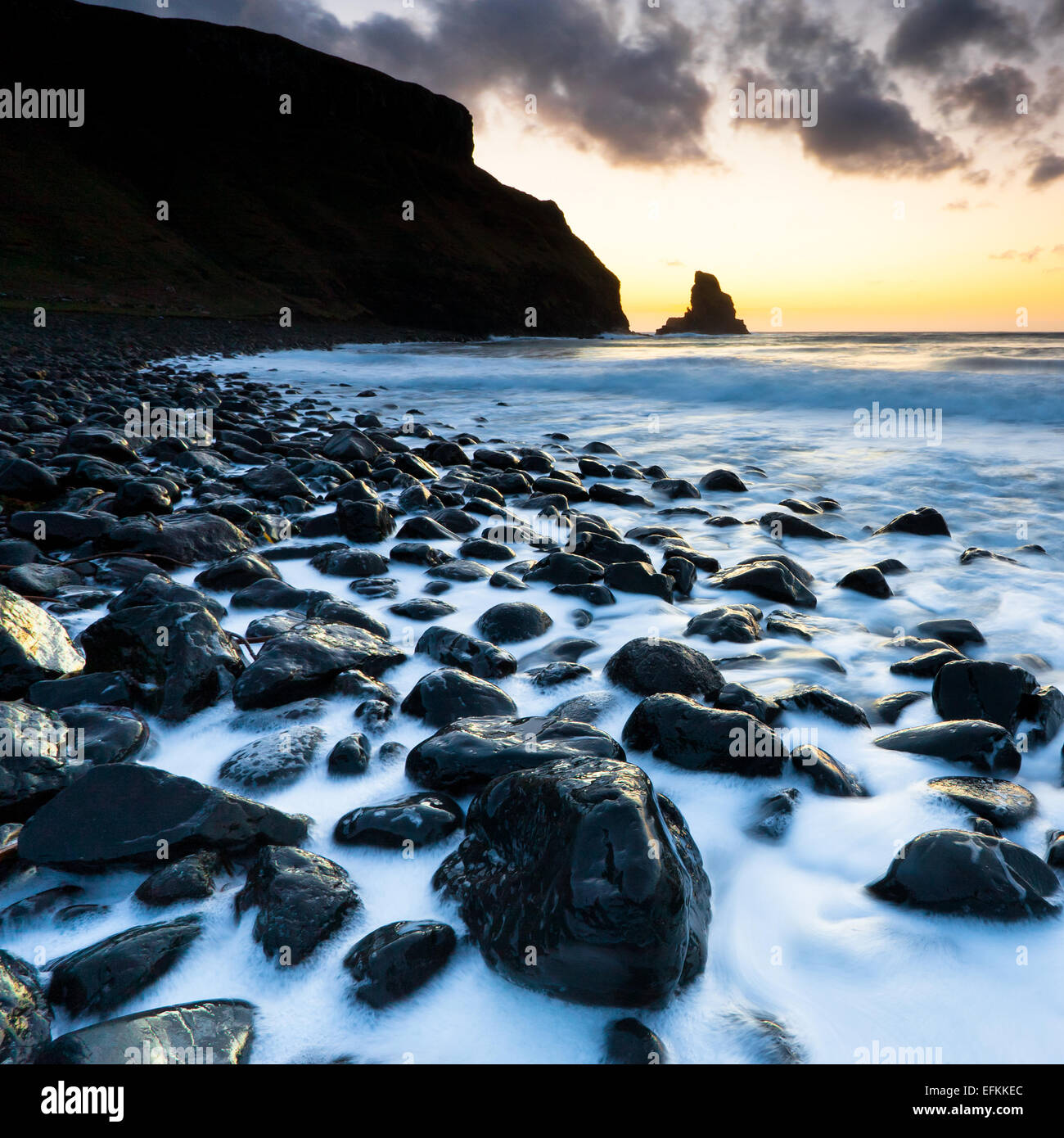 photograph taken at sunset at Talisker Bay on the Isle of Skye Western Isles Scotland Stock Photo
