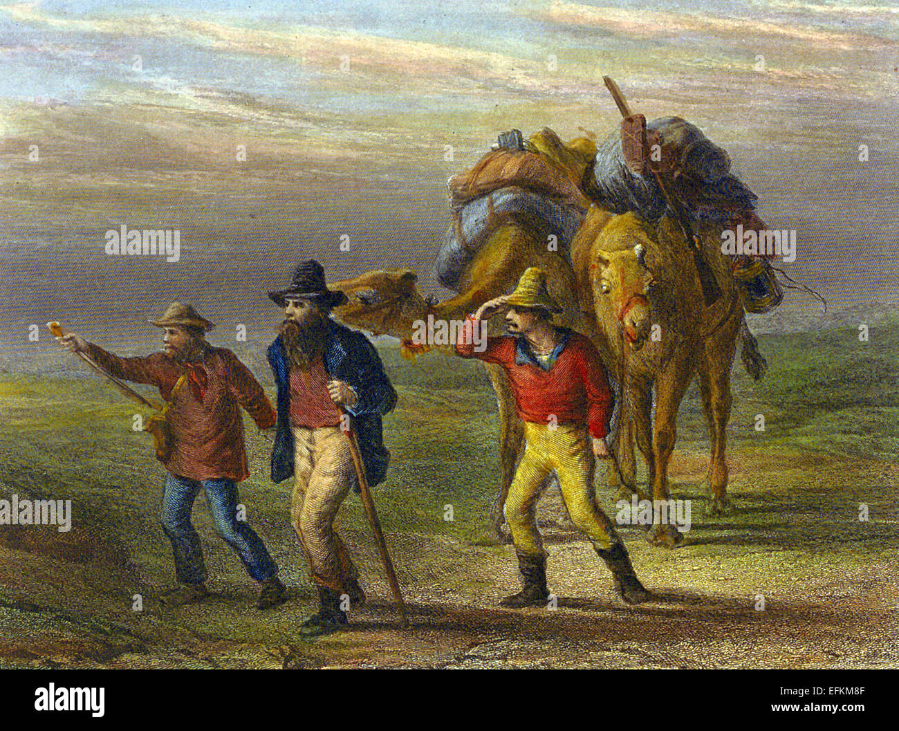 BURKE AND WILLS EXPEDITION  Contemporary engraving by Nicholas Chevalier showing Burke, Wills and King returning - Stock Image