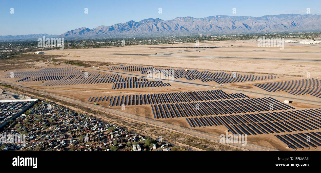 The largest defense department solar array field collects power from the sun at Davis-Monthan Air Force Base November - Stock Image