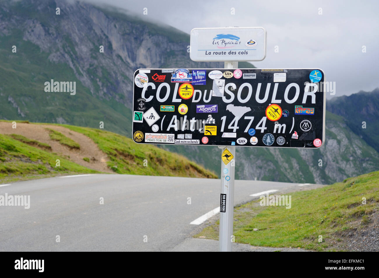 Col du Soulor (1474m), Pyrenees, Hautes Pyrenees (France). Stock Photo