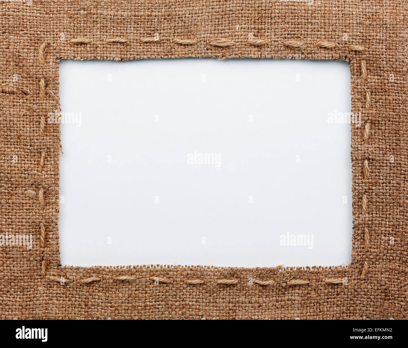 Frame of burlap, lies on a white background, can be used as texture ...