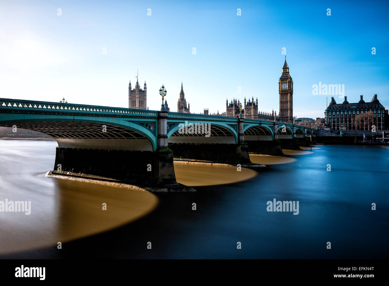 Big Ben is the nickname for the Great Bell of the clock also known as Clock Tower and Elizabeth Tower. Stock Photo