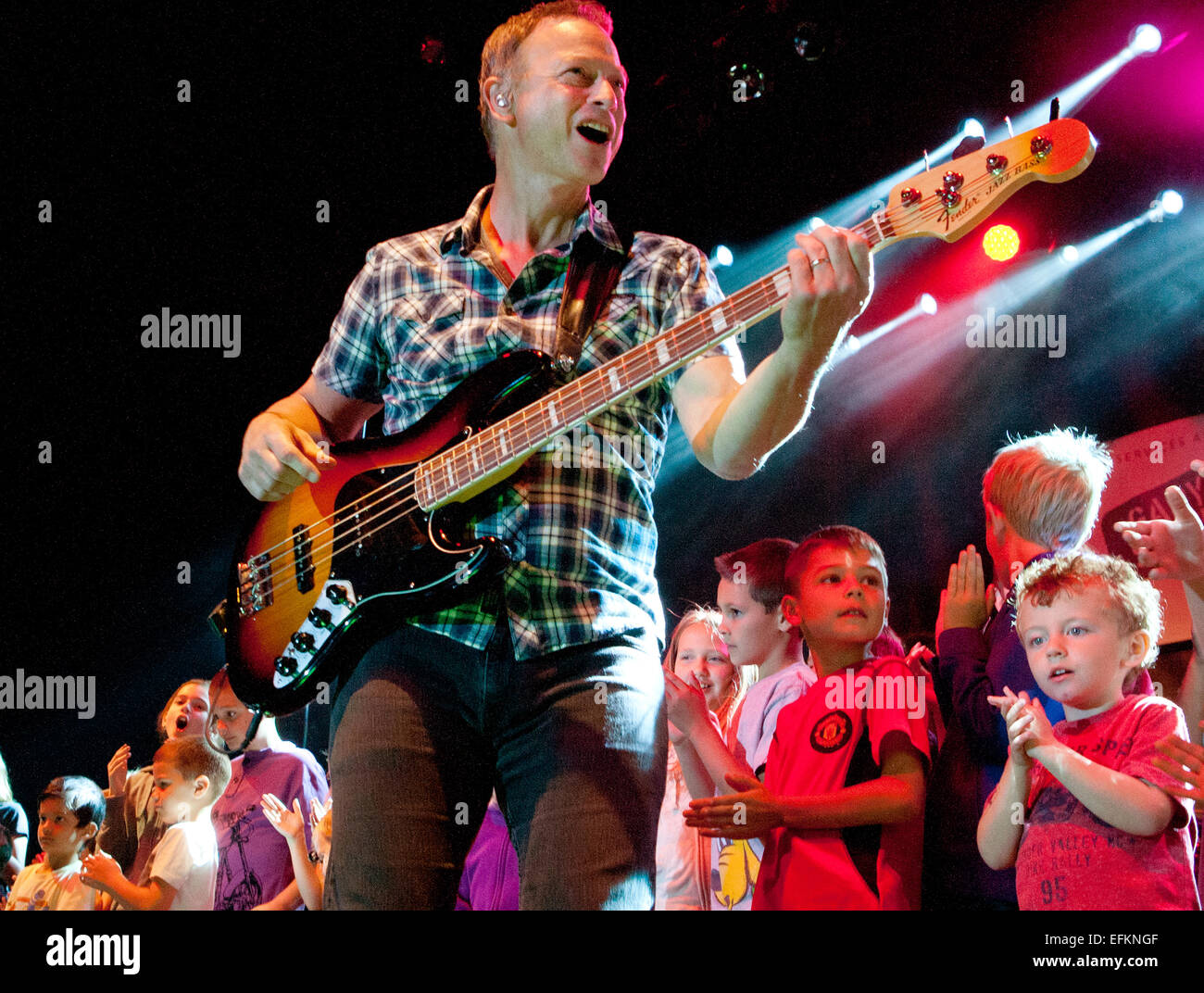 Actor Gary Sinise and the Lt. Dan Band perform for the troops at F.E. Warren Air Force Base August 17, 2014 in Cheyenne, - Stock Image